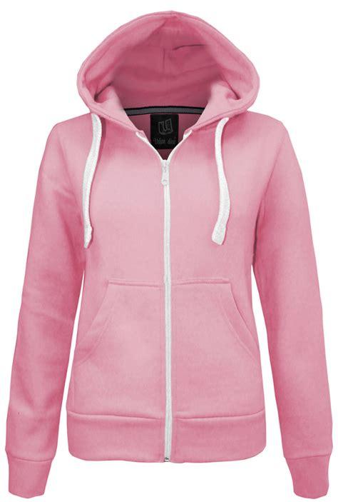 Jaket Hoodie new plain zip hoodie sweatshirt fleece hooded jacket womens top size 6 14 ebay