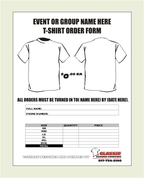 tshirt order form template 18 free template for shirt orders images free t shirt