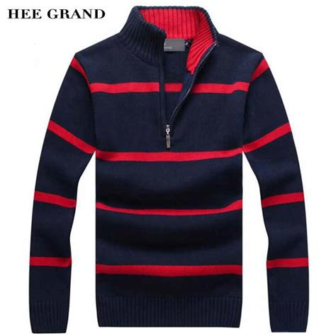 Sweater Rajut Grand Wish hee grand casual sweater 2017 new arrival stand collar striped thin wool autumn winter