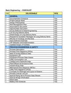Engineering Checklist Template by Basic Engineering Checklist