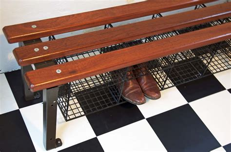 industrial shoe storage bench 50 s industrial bench with shoe rack bring it on home