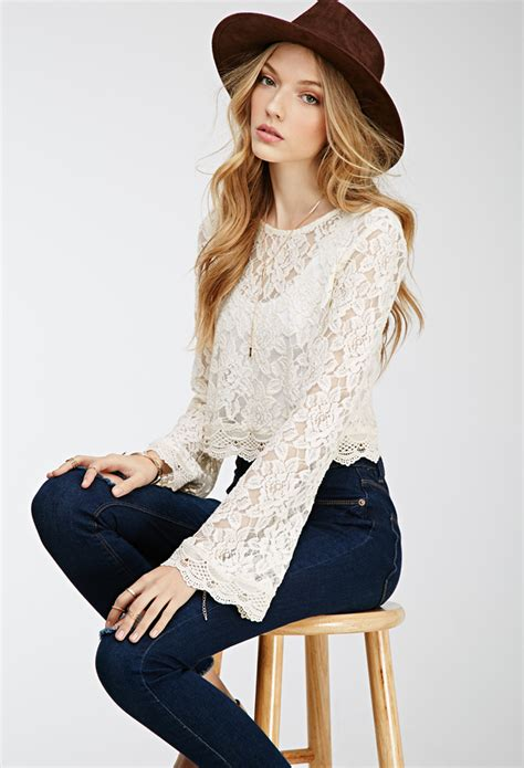 Sabrina Bell Sleeve Top lyst forever 21 bell sleeved lace crop top in
