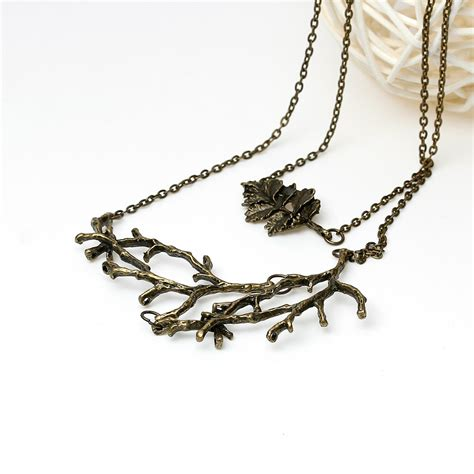handmade autumn vintage leaf branch necklace