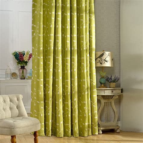 green window curtains leaf pattern cotton country green window curtains