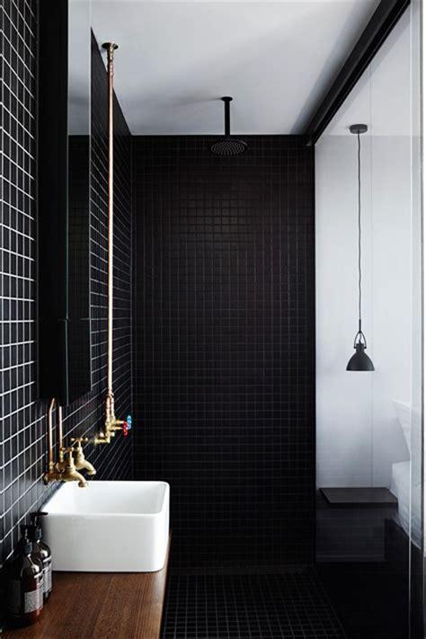 Black Showering by Black Tiled Bathroom Exposed Brass Pipes Shower Room Ideas Houseandgarden Co Uk