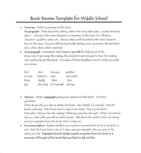 report guidelines template sle book report template 8 free documents