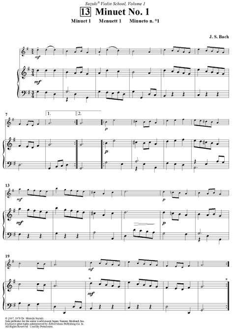 Suzuki Violin Book 1 Minuet 2 Minuet No 1 Sheet For Piano And More