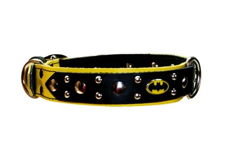 batman collar batman collar yellow and black leather