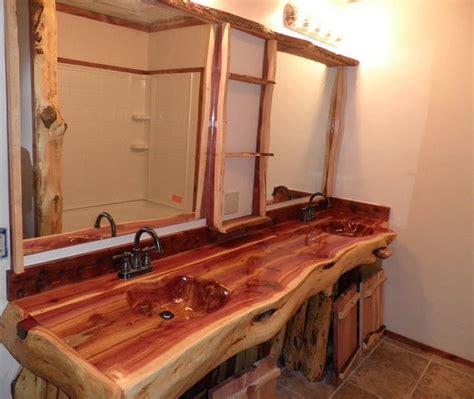 log bathroom vanity handcrafted handcarved cedar log bathroom vanity 2 300