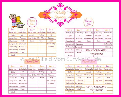 stay home mom monthly chore schedule oilfield mom