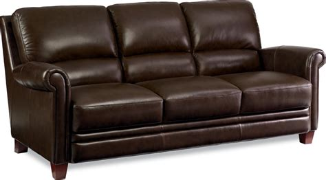 leather sofa with bustle back and rolled arms by la z boy