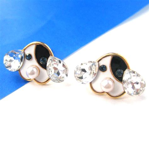 dogs with earrings puppy animal pet stud earrings with pearl and rhinestone details 183 dotoly