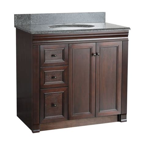 bathroom vanity with drawers on left side foremost shea3621dl tobacco bathroom vanity 36