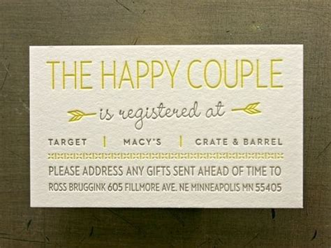 Wedding Registry Gift Cards by Registry Insert For That One Day Wedding