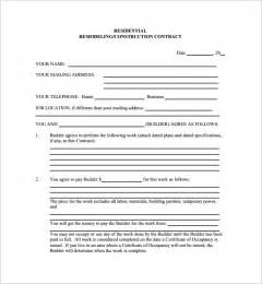 residential construction contract template home remodeling contract 10 free documents in pdf