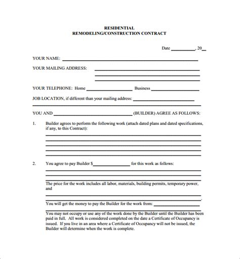 remodeling contract template 9 download free documents