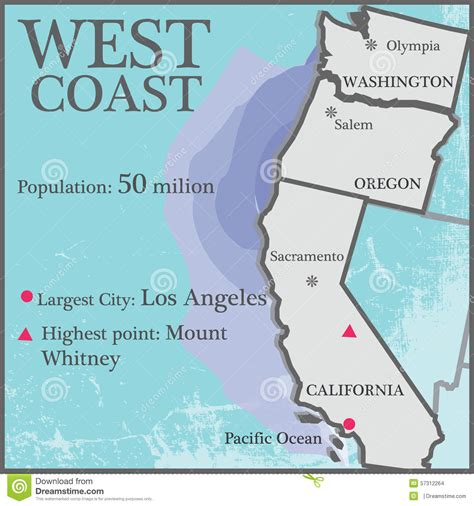map usa states west coast west coast stock vector image of population counties
