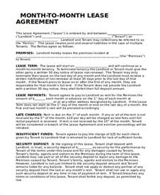 Month To Month Lease Template by Doc 423599 Sle Monthly Rental Agreement Free Ohio