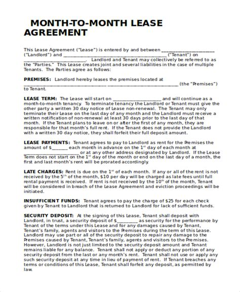 month to month rental agreement template sle month to month lease form 6 free documents in