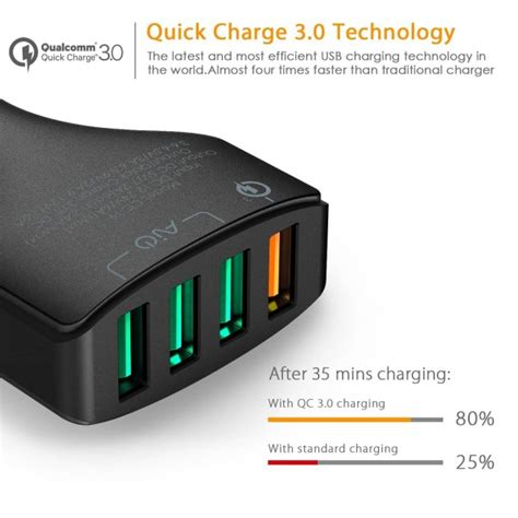 Aukey Car Charger Oc 3 0 Cc T9 aukey cc t9 charge 3 0 in car charger 55 5w 4 ports