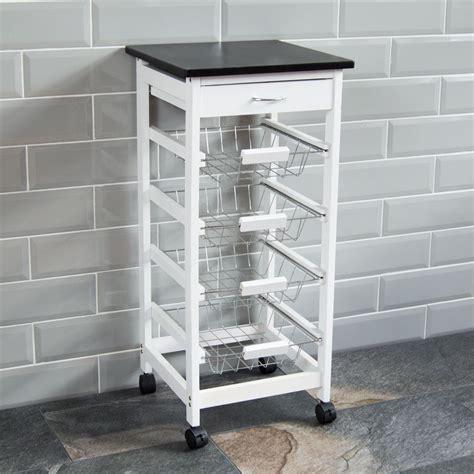 wood tiered drawer storage 4 tier kitchen trolley white wooden cart basket storage