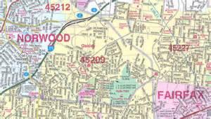 Cincinnati Zip Code Map by Cincinnati Wall Map Close Up