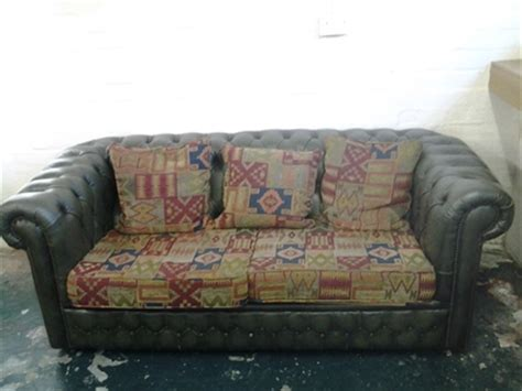 Leather With Fabric Seat Cushions by Green Leather Chesterfield Style 2 Seater Sofa With Aztec