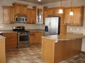 Floor Cabinets For Kitchen Kitchen Design With Oak Cabinets And Stainless Steel Appliances This Kitchen Boosts Tile