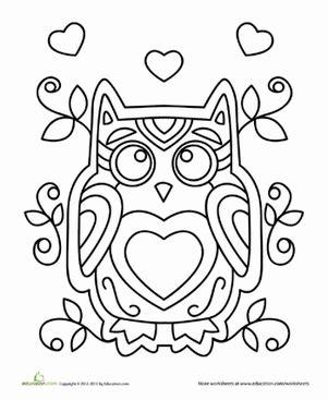 valentine coloring page for kindergarten valentine owl worksheet education com