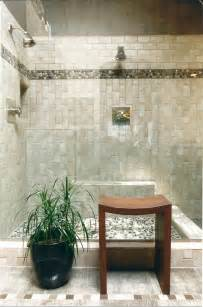 river rock tile bathroom contemporary with beige