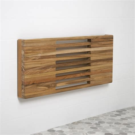 wall mounted teak shower bench 24 quot teak wall mount shower bench with slots teakworks4u