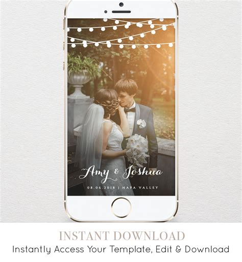 Wedding Geofilter Snapchat Filter Instant Download String Lights 100 Editable Template Snapchat Wedding Geofilter Template