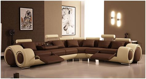 Modern Living Room Ideas With Brown Leather Sofa Modern Brown Leather Sofa Designs For Living Room With Bown Paint Wall Interior Design Ideas