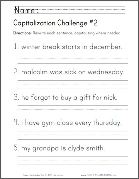 capitalization challenge 2 ccss for grade l 1 2