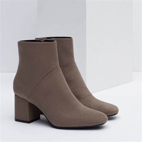 gray boots zara high heel pointed ankle boots in gray lyst