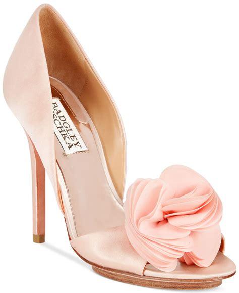 Badgley Mischka Randee Pink Satin Heels by Lyst Badgley Mischka Blossom Evening Pumps In Pink