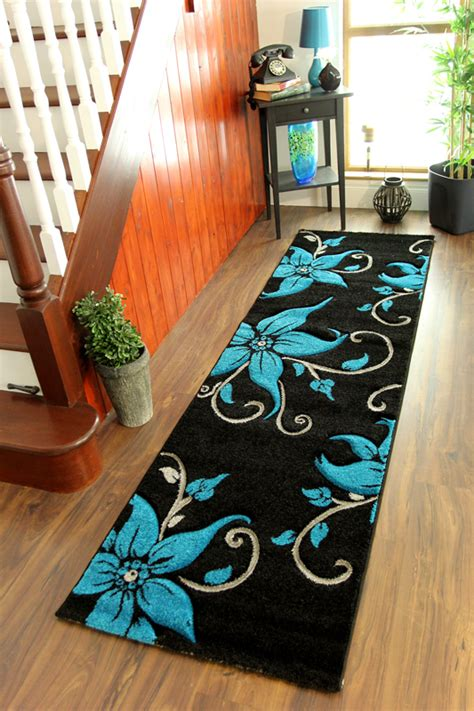 teal and black rug modern narrow runner teal blue black grey carved thick flower rugs ebay