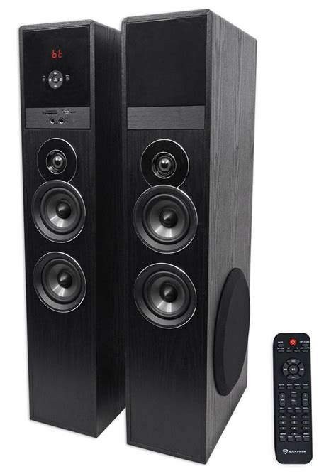 rockville tmb black home theater system tower speakers