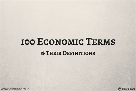 Mba Basic Terms by Important Economic Terms Definitions For Competitive