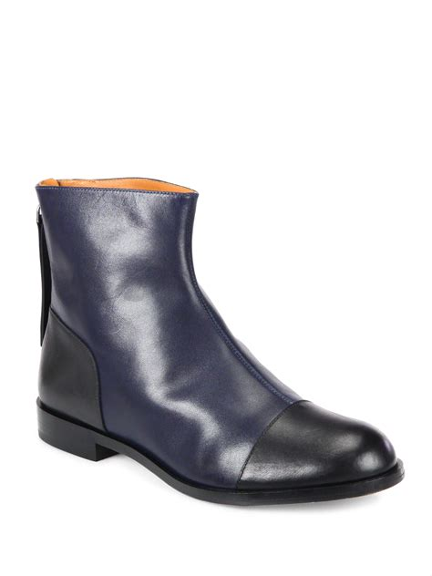 marc by marc flat shoes lyst marc by marc flat leather ankle boots in black