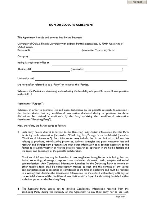 non disclosure and confidentiality agreement template employee agreement template out of darkness