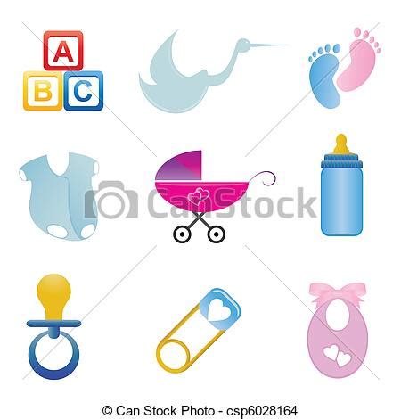 EPS Vector of Baby related icon set - Baby related items ... Free Baby Related Clipart