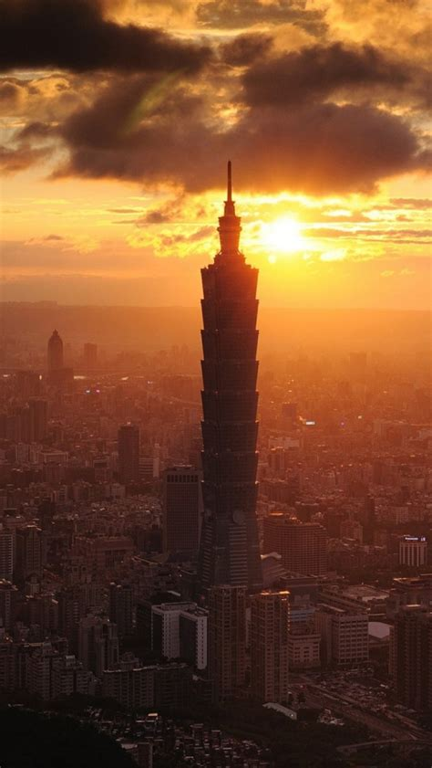 taipei  tower taiwan sunset iphone  wallpaper hd