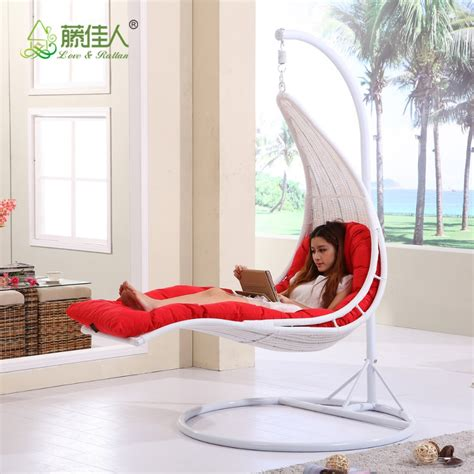 indoor swing bed indoor relaxing lying rattan swing chair with stand buy
