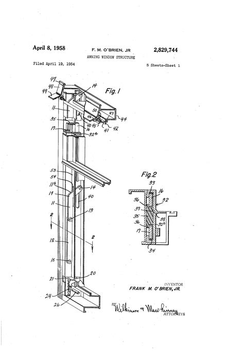 patent us2829744 awning window structure patents