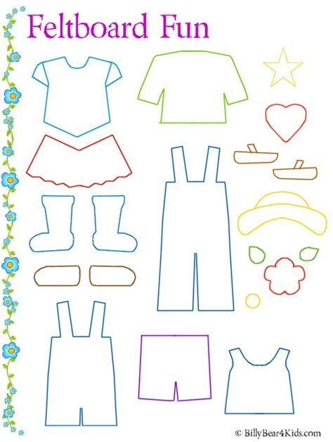 Clothes Templates felt board clothes template many more like bug counting cone colors etc