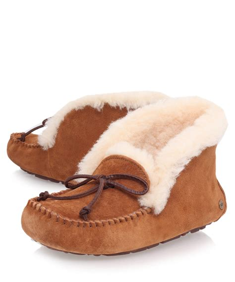 ugg boot slippers lyst ugg alena sheepskin slipper boots in brown
