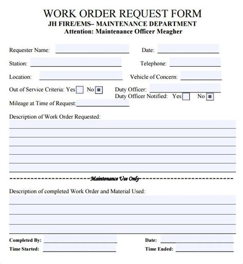 work order template word doc free work order templates