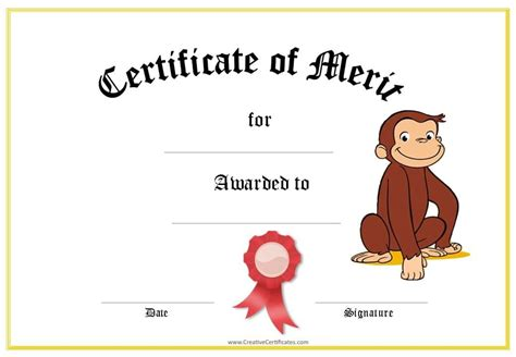 merit award certificate template award certificates with curious george