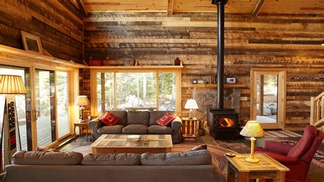 country cottage style wallpaper log cabin living room